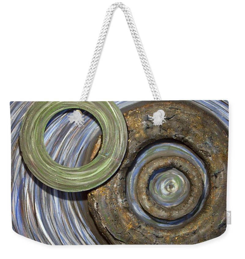 Circles Weekender Tote Bag featuring the painting Threes A Crowd by Jacqueline Athmann