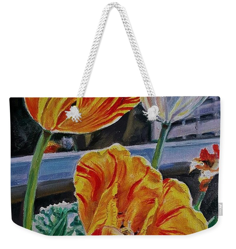 Tulips Weekender Tote Bag featuring the painting Three's A Crowd by Manju Chau