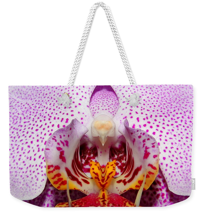 Abstract Weekender Tote Bag featuring the photograph Throat Of An Orchid by Judy Vincent