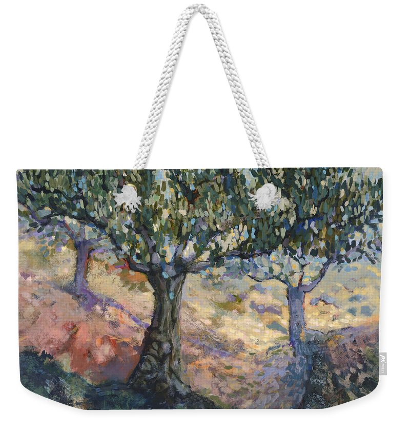 Jen Norton Weekender Tote Bag featuring the painting Through Ancient Olives by Jen Norton