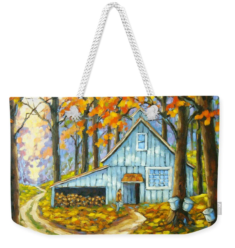 Sugar Shack Weekender Tote Bag featuring the painting Through The Deep Woods by Richard T Pranke