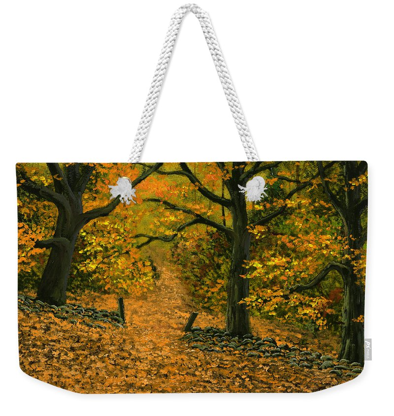 Landscape Weekender Tote Bag featuring the painting Through The Fallen Leaves by Frank Wilson