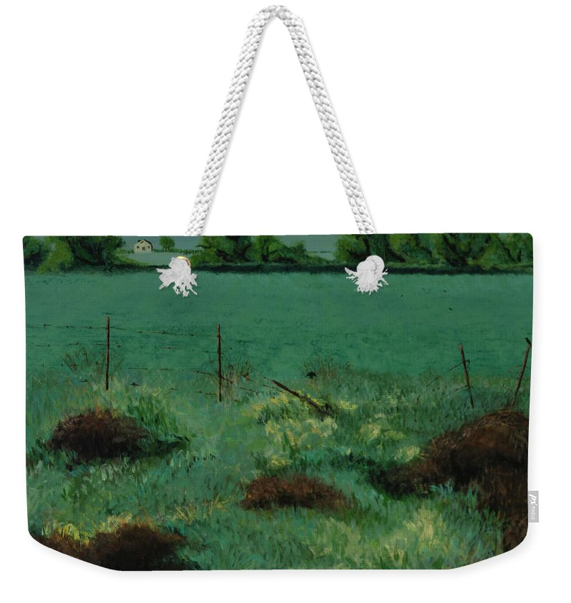 Weekender Tote Bag featuring the painting Through The Fence by Beatriz Flores