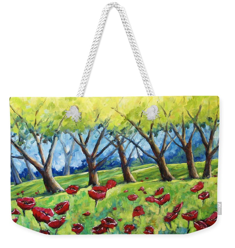 Landscape Weekender Tote Bag featuring the painting Through The Meadows by Richard T Pranke