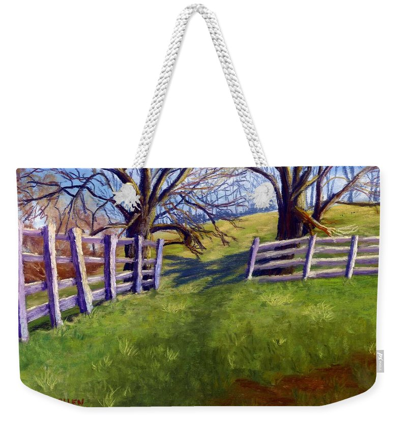 Pasture Weekender Tote Bag featuring the painting Throught The Pasture Gate by Sharon E Allen