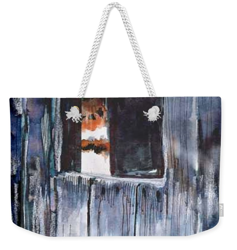 An Old Mysterious Barn With Deep Dark Shadows And Secrets. Rustic And Moody. Weekender Tote Bag featuring the drawing Thru the Barn Window by Seth Weaver