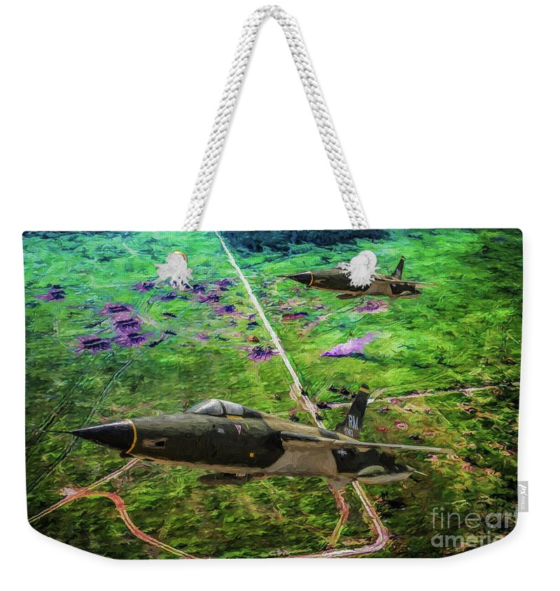 Republic F-105 Thunderchief Weekender Tote Bag featuring the digital art Thuds Over Vietnam Oil by Tommy Anderson