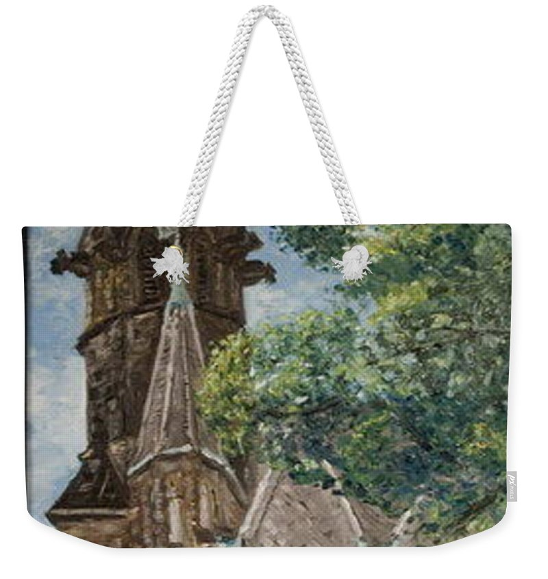 Weekender Tote Bag featuring the painting Thun Castle by Pablo de Choros