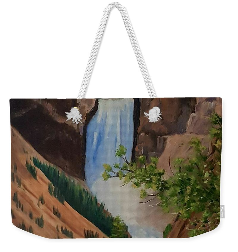 Waterfall Weekender Tote Bag featuring the painting Thunder Falls by Susan Galassi