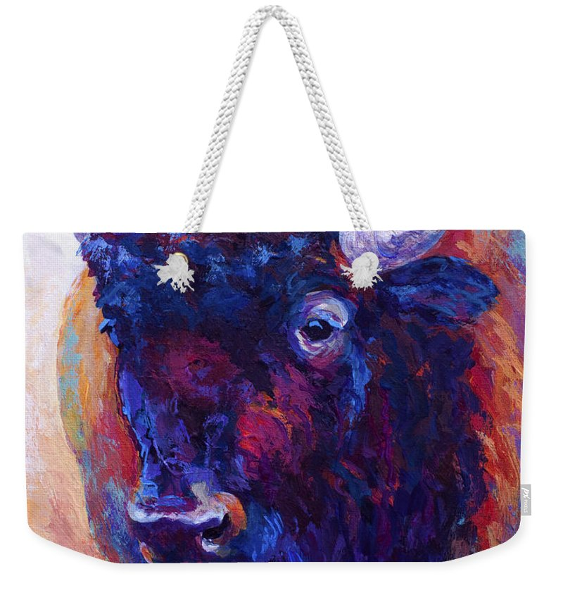Bison Weekender Tote Bag featuring the painting Thunder Horse by Marion Rose