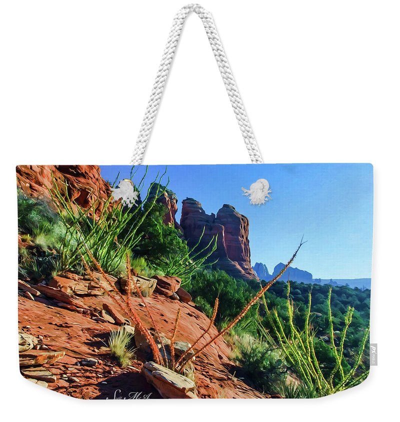 Sedona Weekender Tote Bag featuring the photograph Thunder Mountain 07-006 by Scott McAllister