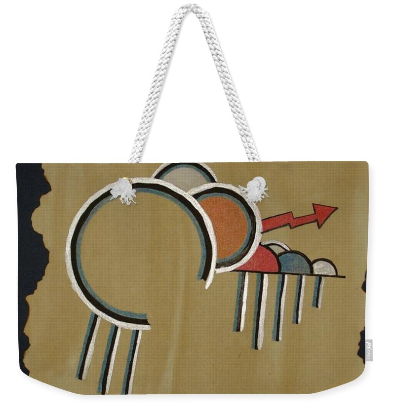 Design Weekender Tote Bag featuring the mixed media Thunderbeings by Jo Hoden