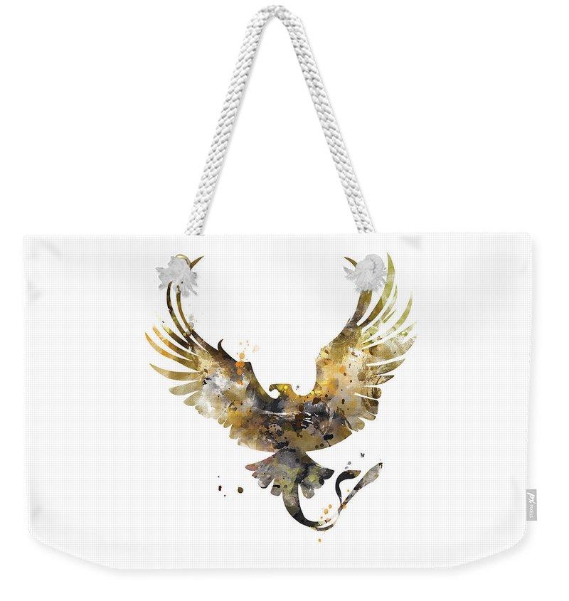 Thunderbird Weekender Tote Bag featuring the mixed media Thunderbird by Monn Print