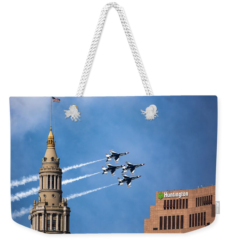 Thunderbirds Weekender Tote Bag featuring the photograph Thunderbirds In Cleveland by Dale Kincaid