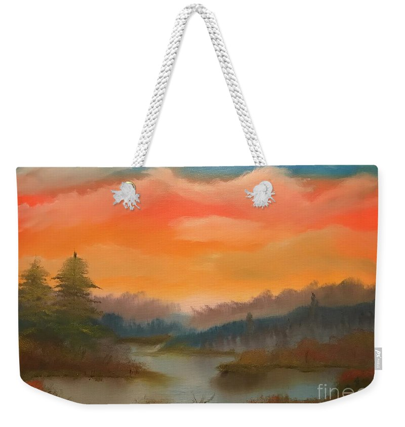 Landscape Lake Tree Hills Sky Weekender Tote Bag featuring the painting Thursday With Gina by Tyler The Painter