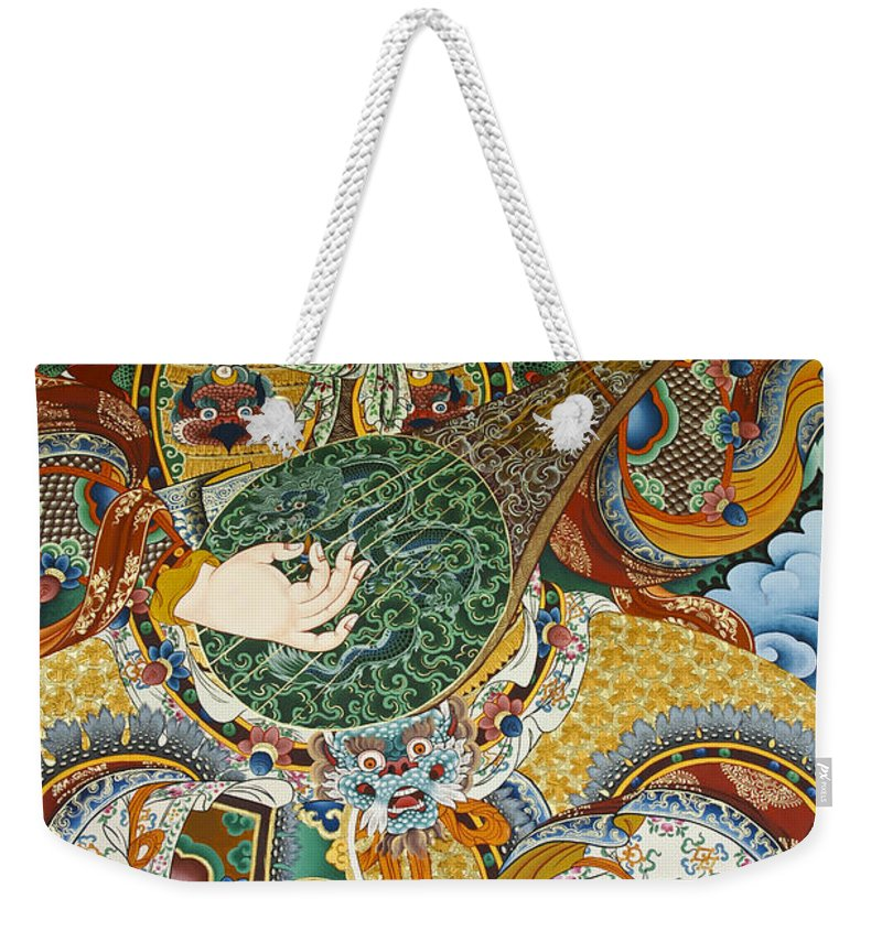 Asia Weekender Tote Bag featuring the photograph Tibetan Buddhist Mural by Michele Burgess