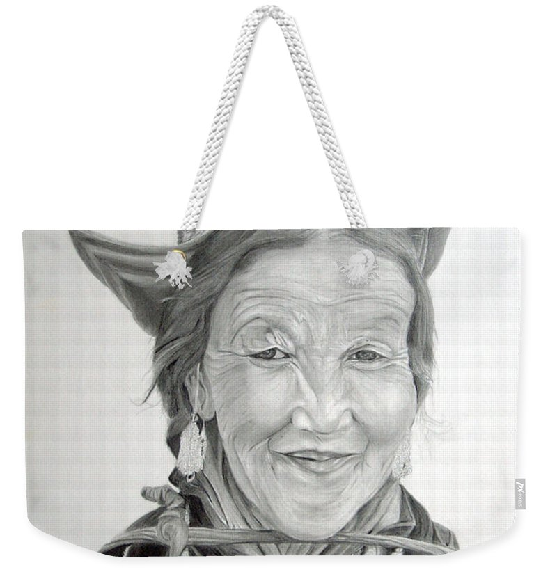 Figurative Art Weekender Tote Bag featuring the drawing Tibetan Delight by Portraits By NC
