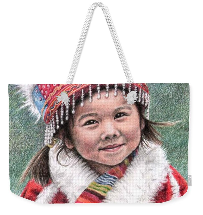 Girl Weekender Tote Bag featuring the drawing Tibetan Girl by Nicole Zeug