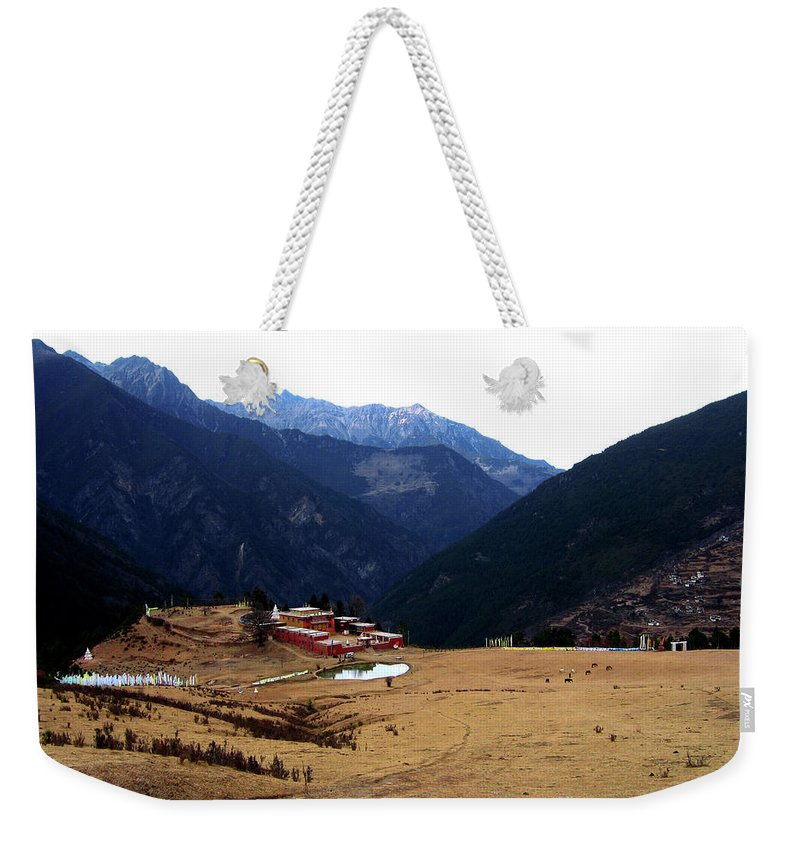 Tibetan Temple Weekender Tote Bag featuring the photograph Tibetan Landscape by Tianxin Zheng