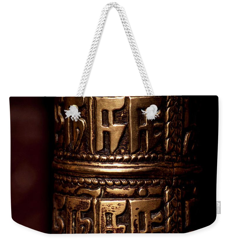 Prayer Wheel Weekender Tote Bag featuring the photograph Tibetan Prayer Wheel by Patrick Klauss