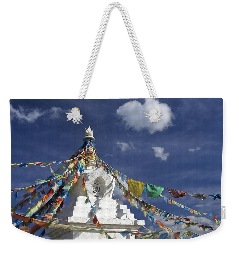 Asia Weekender Tote Bag featuring the photograph Tibetan Stupa with Prayer Flags by Michele Burgess