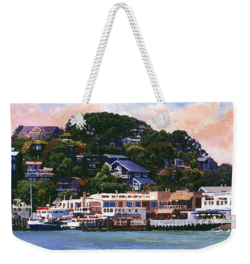 Landscape Weekender Tote Bag featuring the painting Tiburon California Waterfront by Frank Wilson