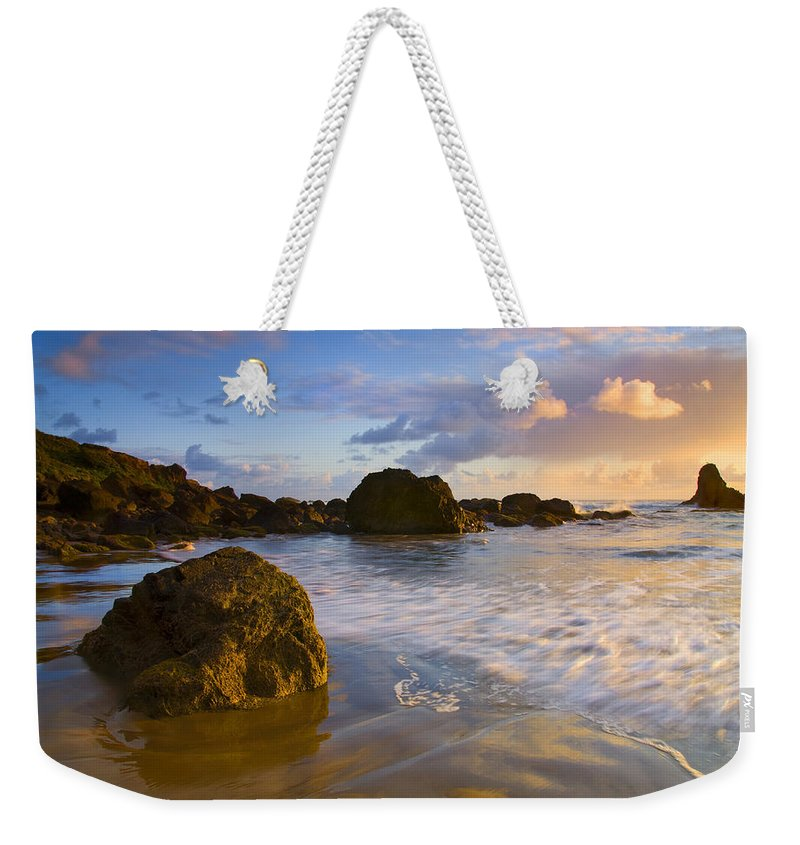 Beach Weekender Tote Bag featuring the photograph Tidal Flow by Mike Dawson