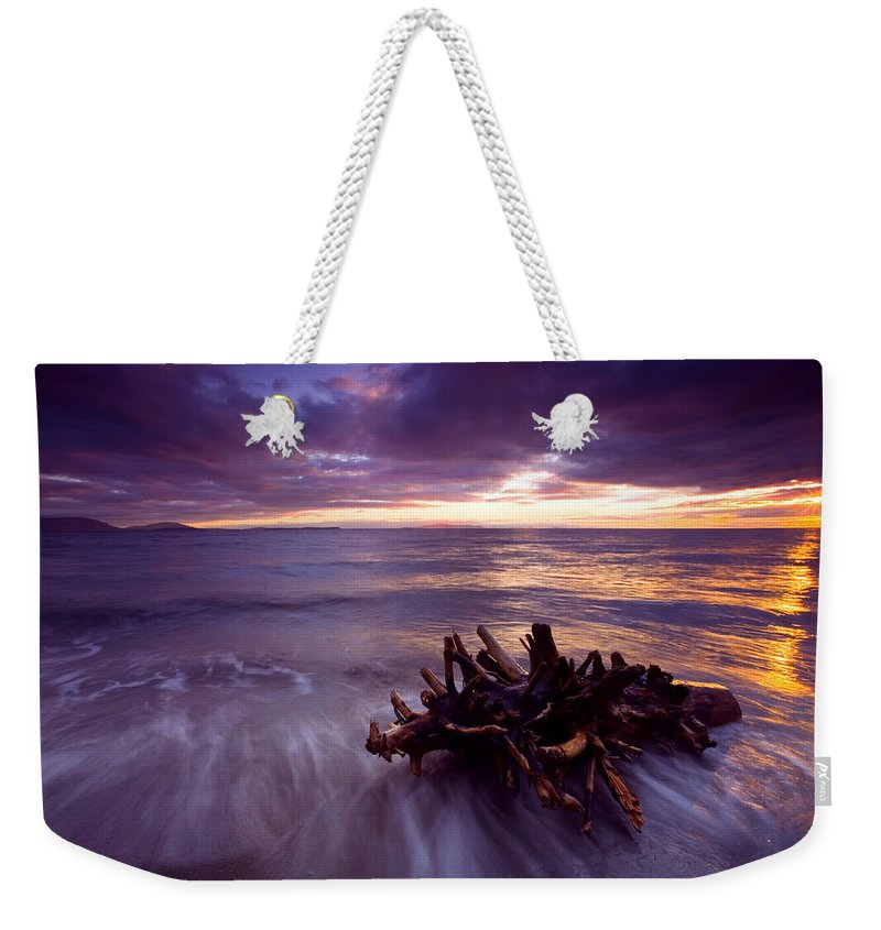 Sunset Weekender Tote Bag featuring the photograph Tide Driven by Mike Dawson