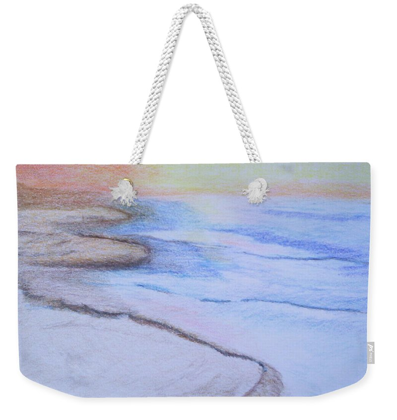 Landscape Weekender Tote Bag featuring the drawing Tide is Out by Suzanne Udell Levinger