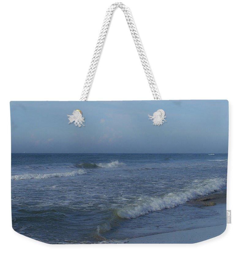 Tide Weekender Tote Bag featuring the photograph Tide Rolling In Ocean Isle Beach North Carolina by Teresa Mucha