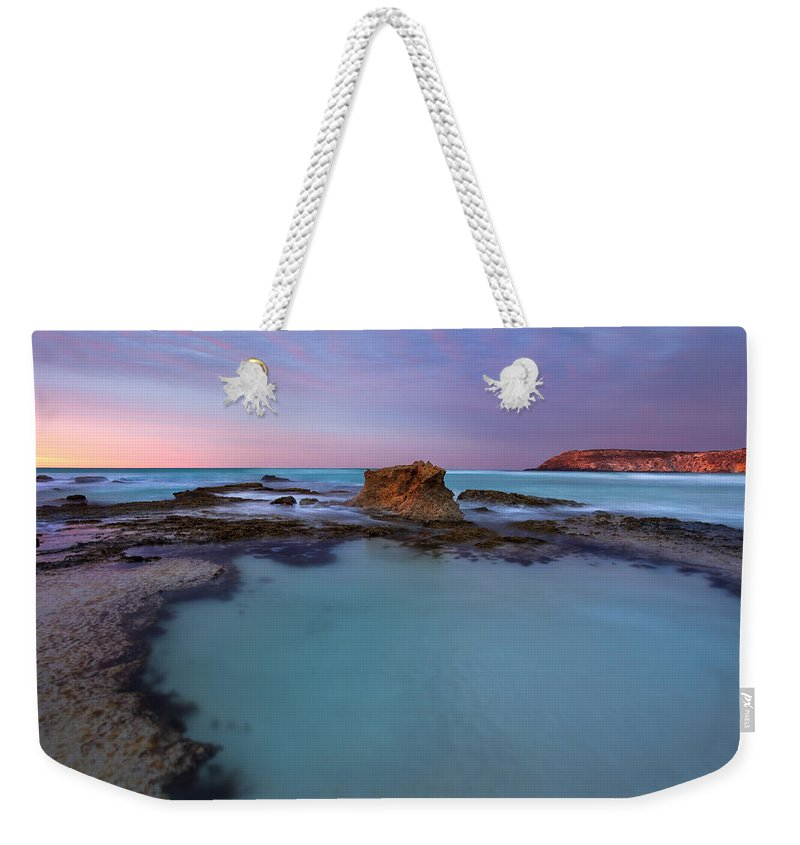 Seascape Tidepools Weekender Tote Bag featuring the photograph Tidepool Dawn by Mike Dawson