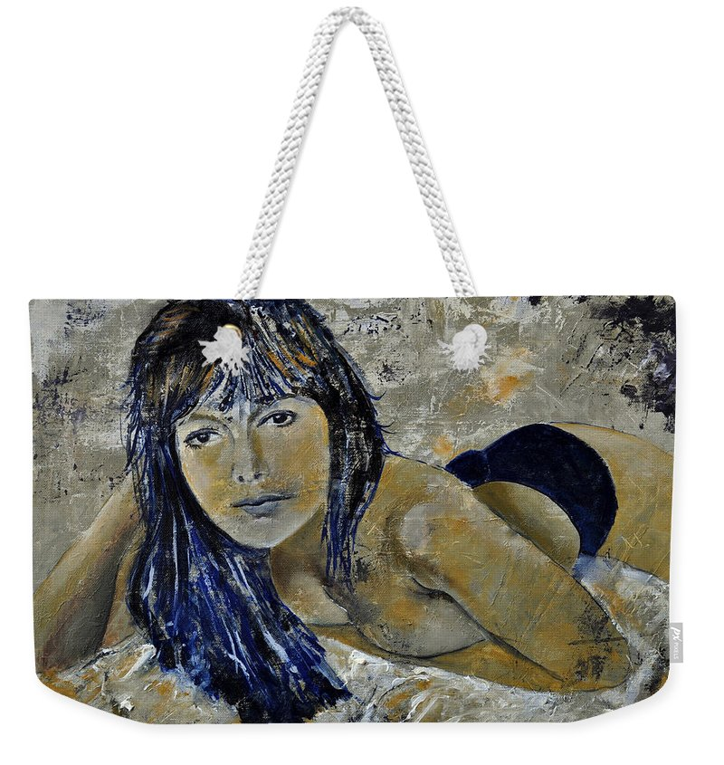 Girl Weekender Tote Bag featuring the painting Tiffany 45 by Pol Ledent