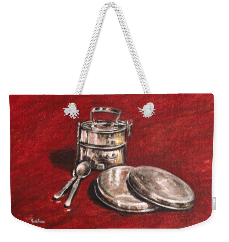 Tiffin Weekender Tote Bag featuring the painting Tiffin Carrier - Still Life by Usha Shantharam