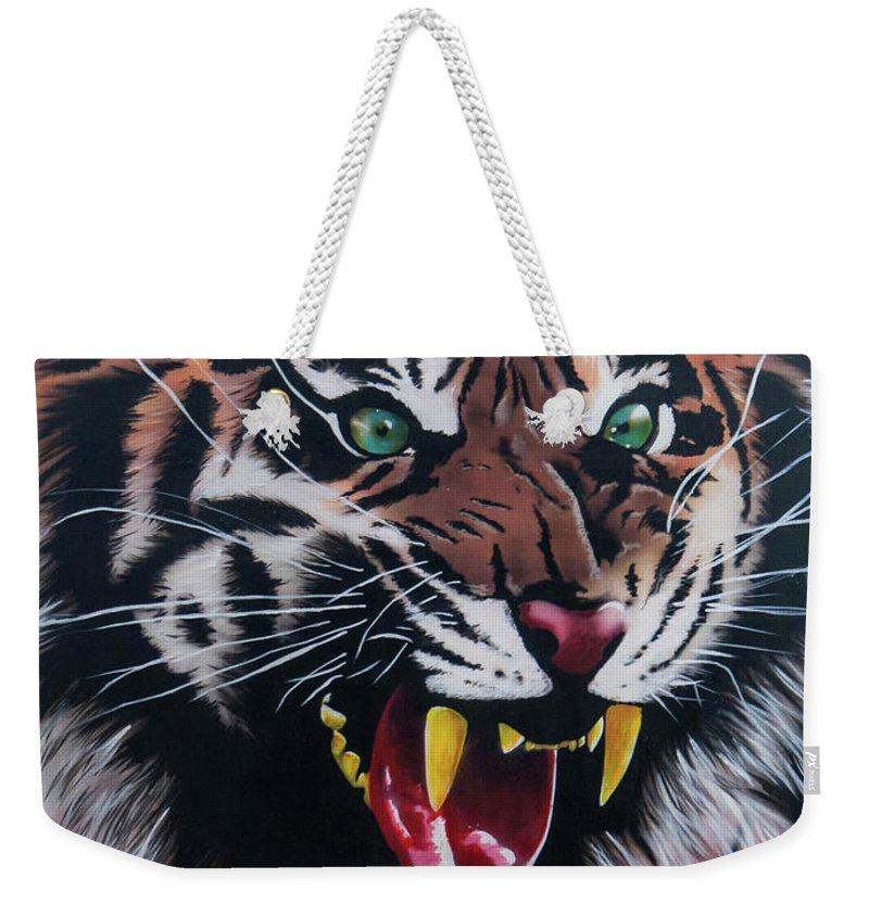 Tiger Weekender Tote Bag featuring the painting Tigar Snarl by Jamie Bishop