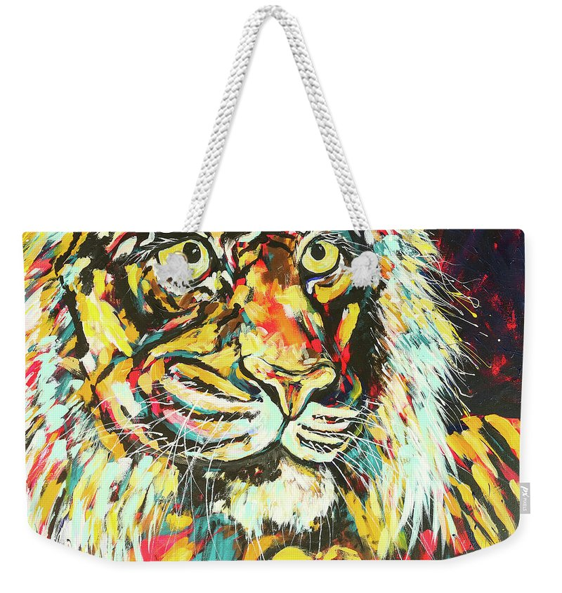 Tiger Weekender Tote Bag featuring the painting Tiger #2 by Arrin Burgand