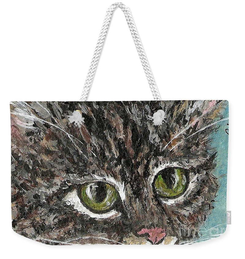 Cats Weekender Tote Bag featuring the painting Tiger Cat by Reina Resto
