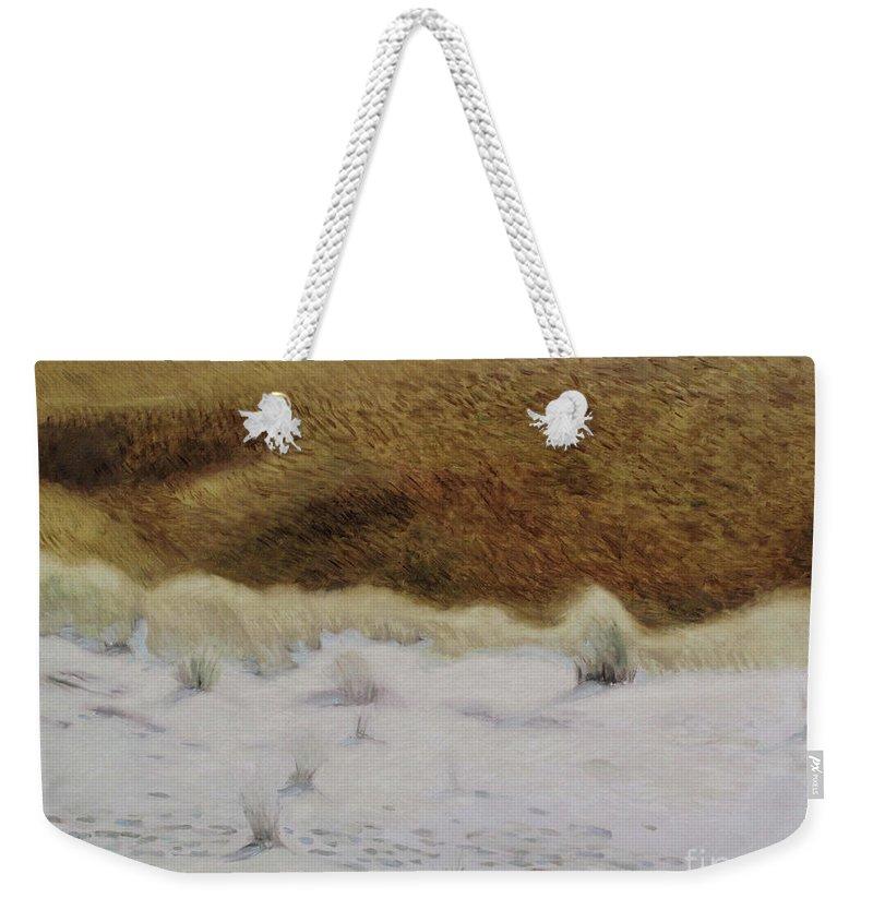 Nida Weekender Tote Bag featuring the painting Tiger Dune by Raimonda Jatkeviciute-Kasparaviciene