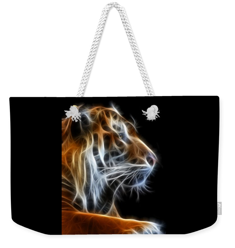 Tiger Weekender Tote Bag featuring the photograph Tiger Fractal 2 by Shane Bechler