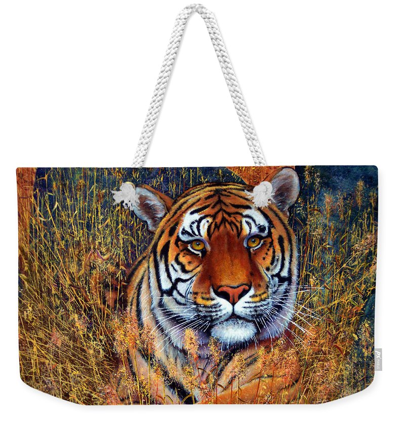 Tiger Weekender Tote Bag featuring the painting Tiger by Frank Wilson