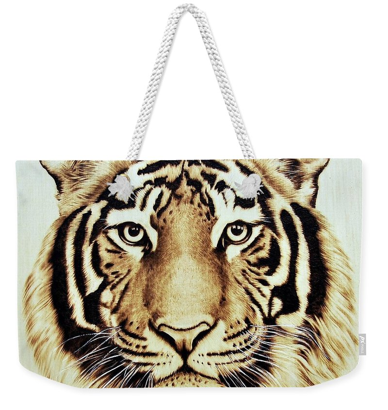 Tiger Weekender Tote Bag featuring the pyrography Tiger by Ilaria Andreucci