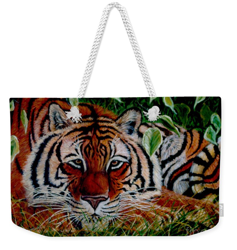 Tiger Weekender Tote Bag featuring the painting Tiger In Jungle by Nick Gustafson