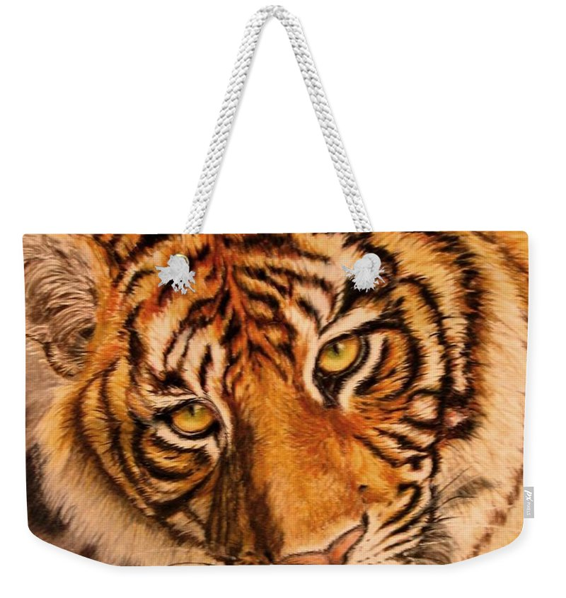 Tiger Weekender Tote Bag featuring the drawing Tiger by Karen Ilari