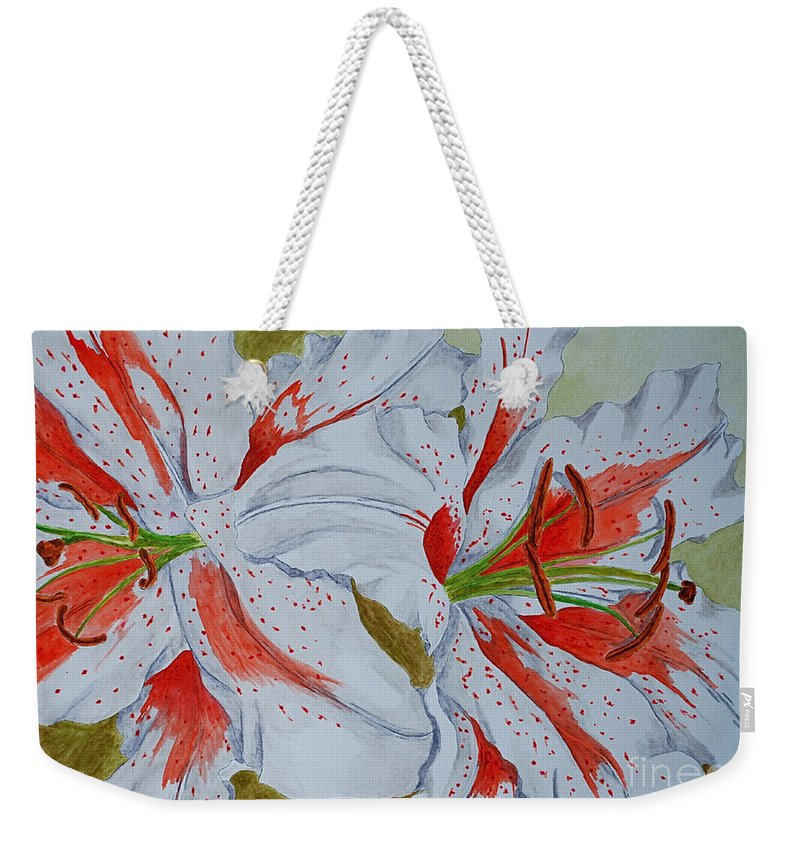 Lilly Red Lilly Tiger Lilly Weekender Tote Bag featuring the painting Tiger Lilly by Herschel Fall