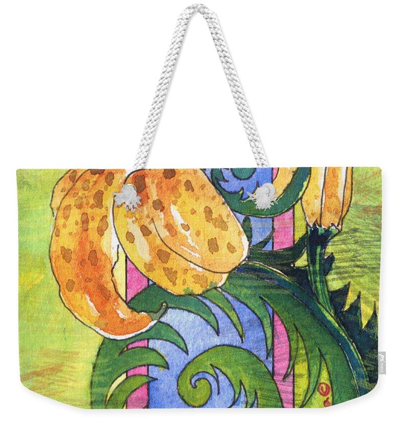 Tamara Kulish Weekender Tote Bag featuring the painting Tiger Lilly by Tamara Kulish