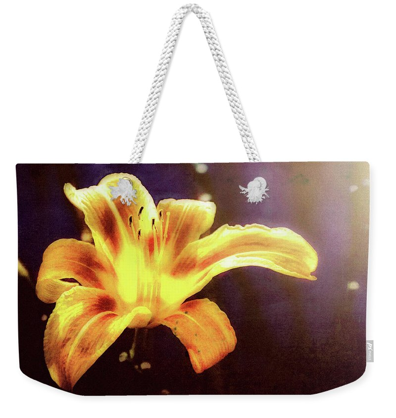 Flowers Weekender Tote Bag featuring the photograph Tiger Lily On Waters Edge by Bob Orsillo