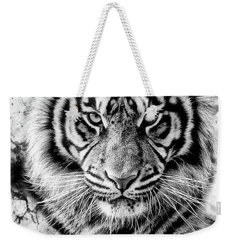 Iger Black Shadows Weekender Tote Bag featuring the digital art Tiger by Rodrigo Butcher