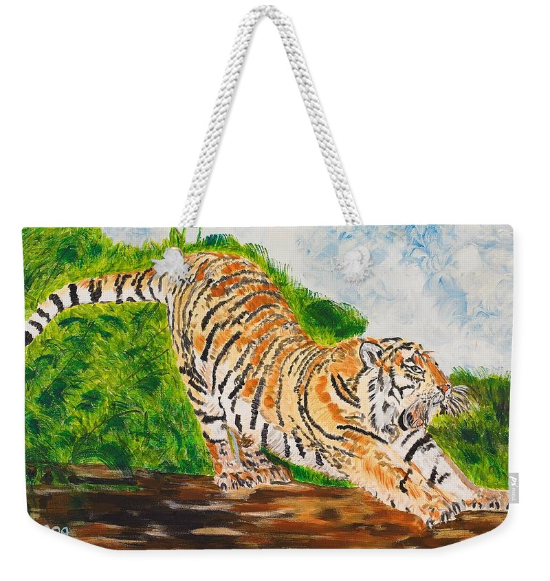 Cat Weekender Tote Bag featuring the painting Tiger Stretching by Valerie Ornstein