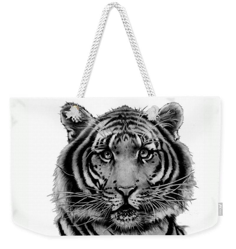 Tiger Weekender Tote Bag featuring the drawing Tiger Tiger by Duke Windsor
