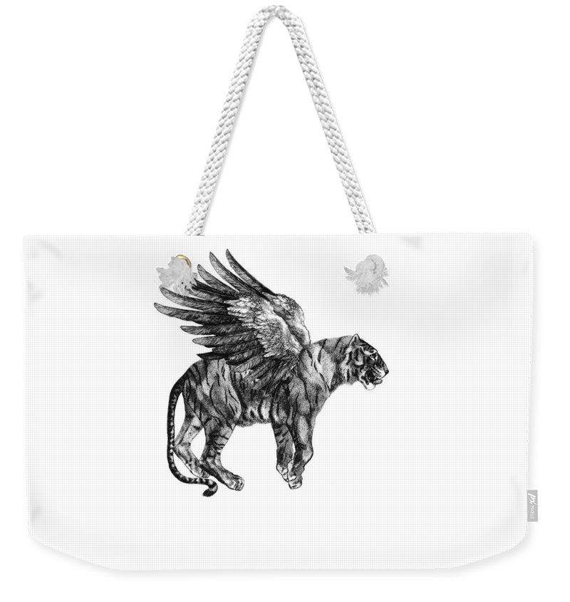 Tiger Weekender Tote Bag featuring the digital art Tiger with wings, black and white illustration by Madame Memento