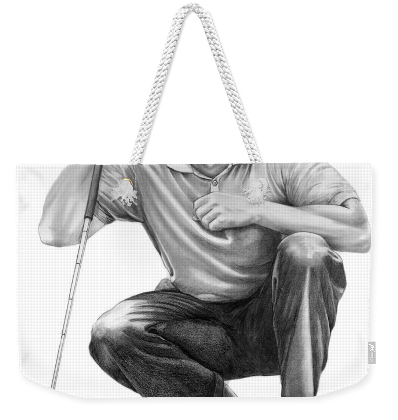 Pencil Weekender Tote Bag featuring the drawing Tiger Woods Crouching Tiger by Murphy Elliott